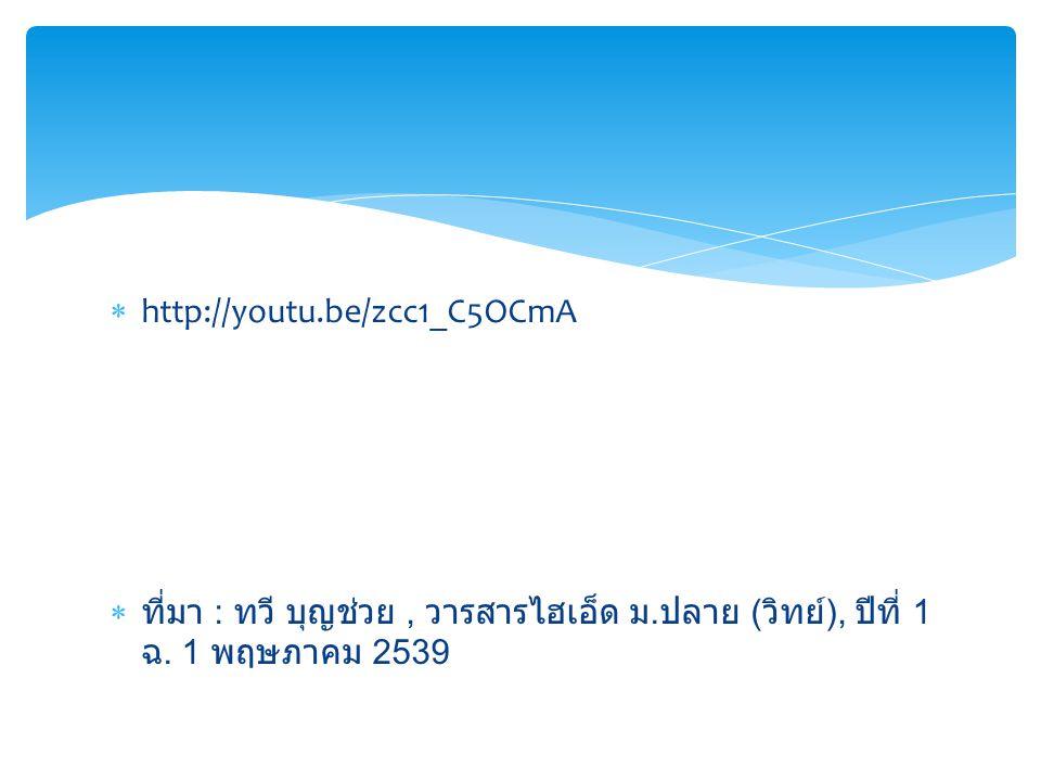 http://youtu.be/zcc1_C5OCmA ที่มา : ทวี บุญช่วย , วารสารไฮเอ็ด ม.ปลาย (วิทย์), ปีที่ 1 ฉ.