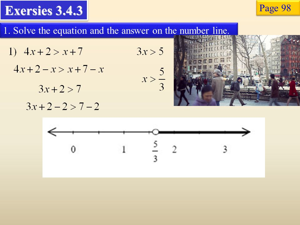 Exersies Page Solve the equation and the answer on the number line.