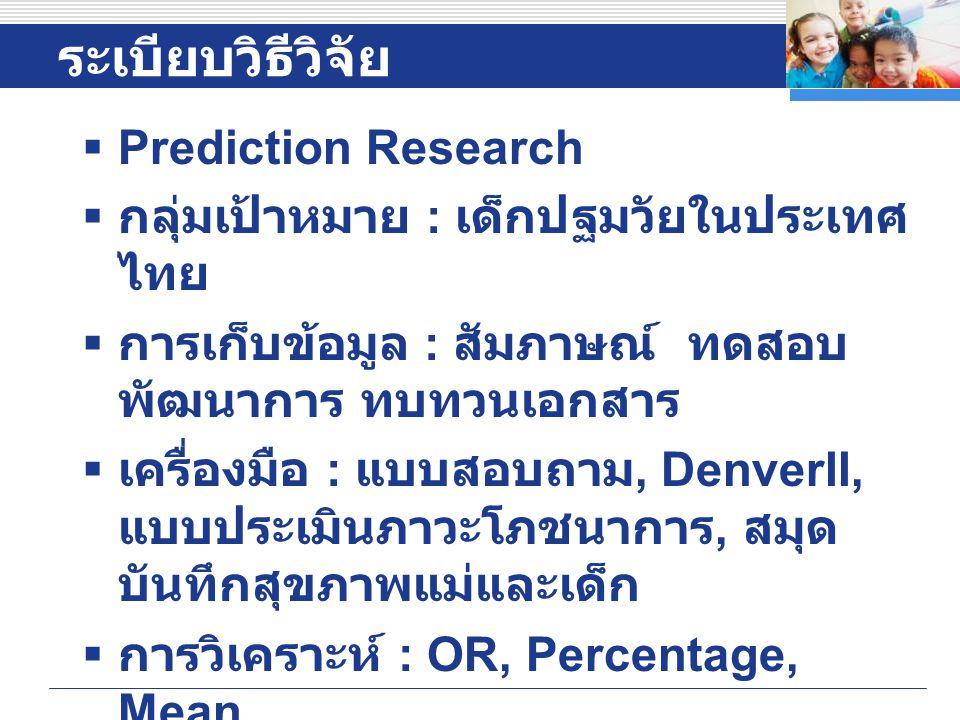 ระเบียบวิธีวิจัย Prediction Research