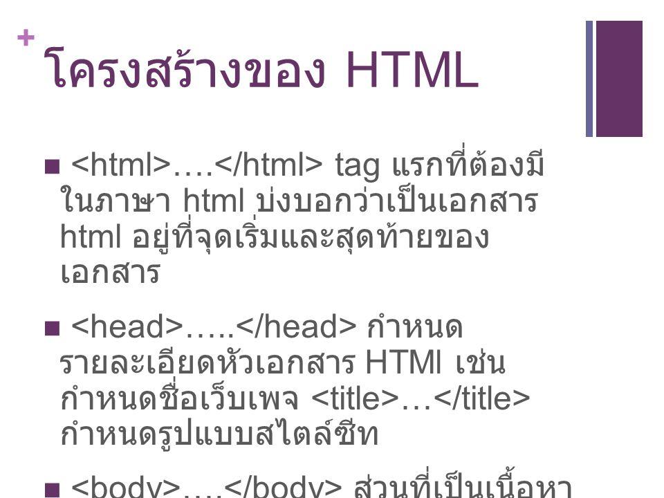 โครงสร้างของ HTML <html>….</html> tag แรกที่ต้องมี ในภาษา html บ่งบอกว่าเป็นเอกสาร html อยู่ที่จุดเริ่มและสุดท้ายของ เอกสาร.