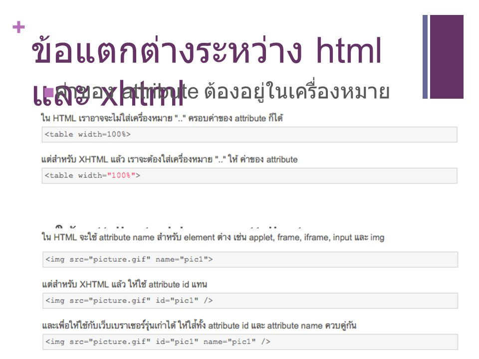 ข้อแตกต่างระหว่าง html และ xhtml