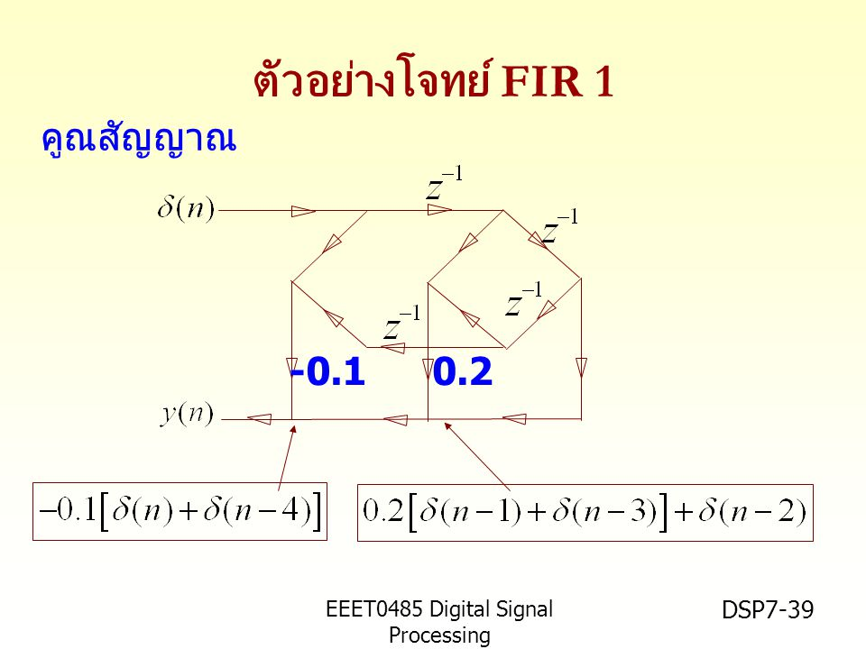 ตัวอย่างโจทย์ FIR 1 คูณสัญญาณ -0.1 0.2