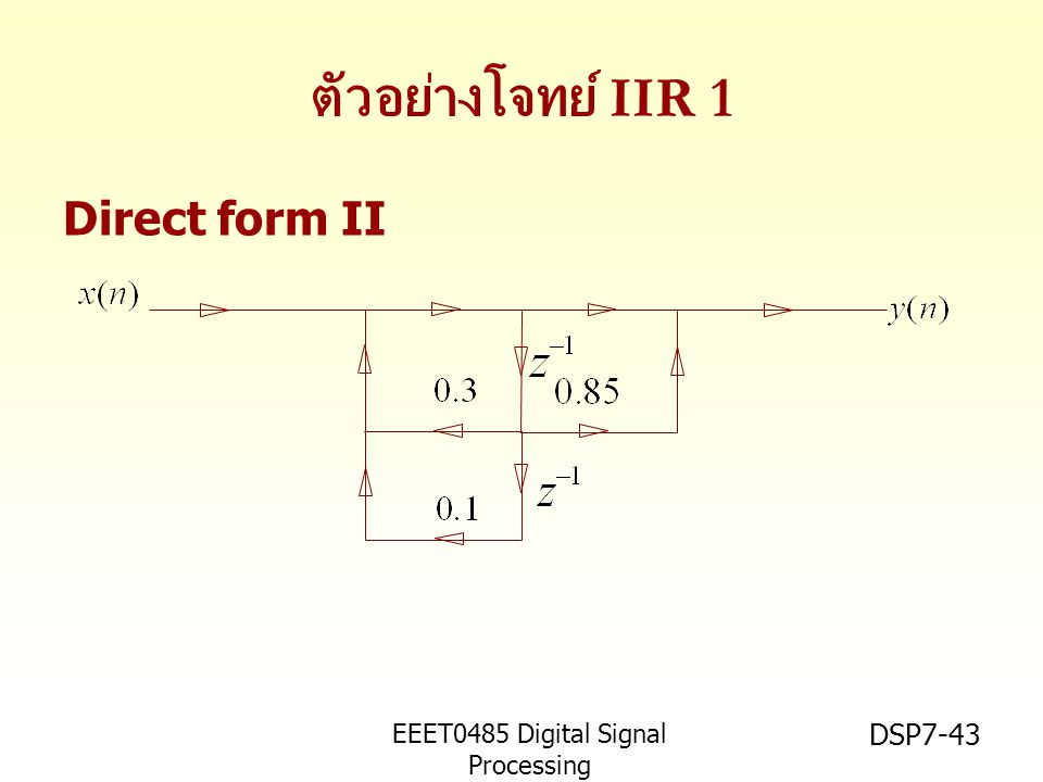 ตัวอย่างโจทย์ IIR 1 Direct form II EEET0485 Digital Signal Processing