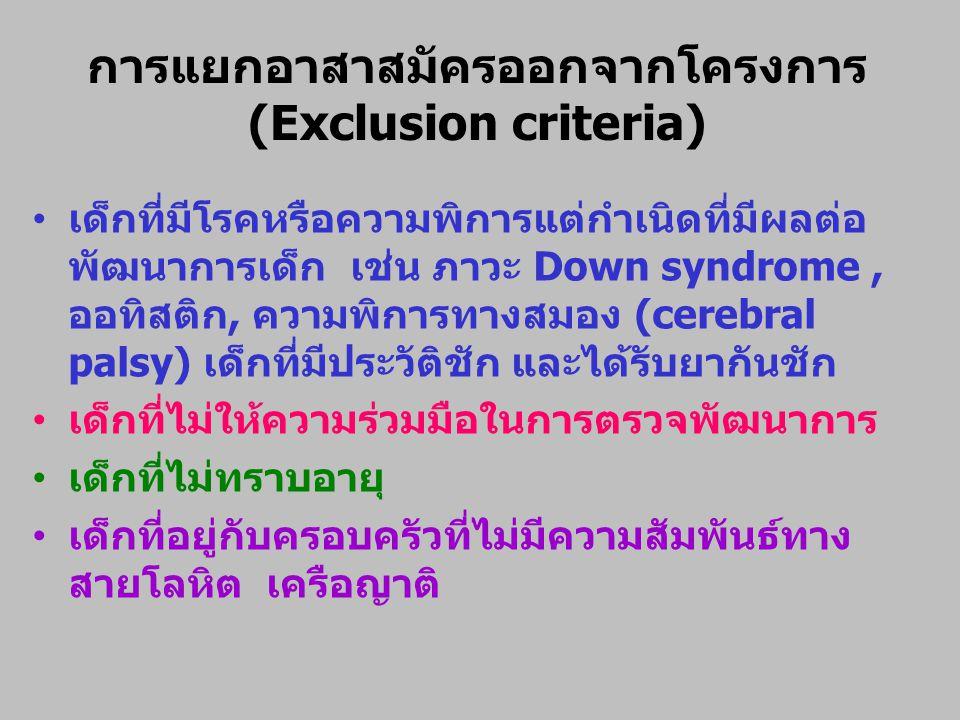 การแยกอาสาสมัครออกจากโครงการ (Exclusion criteria)