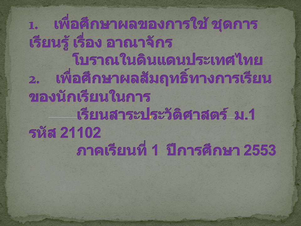 2. วัตถุประสงค์ 1. เพื่อศึกษาผลของการใช้ ชุดการเรียนรู้ เรื่อง อาณาจักร โบราณในดินแดนประเทศไทย 2. เพื่อศึกษาผลสัมฤทธิ์ทางการเรียนของนักเรียนในการ เรียนสาระประวัติศาสตร์ ม.1 รหัส 21102 ภาคเรียนที่ 1 ปีการศึกษา 2553