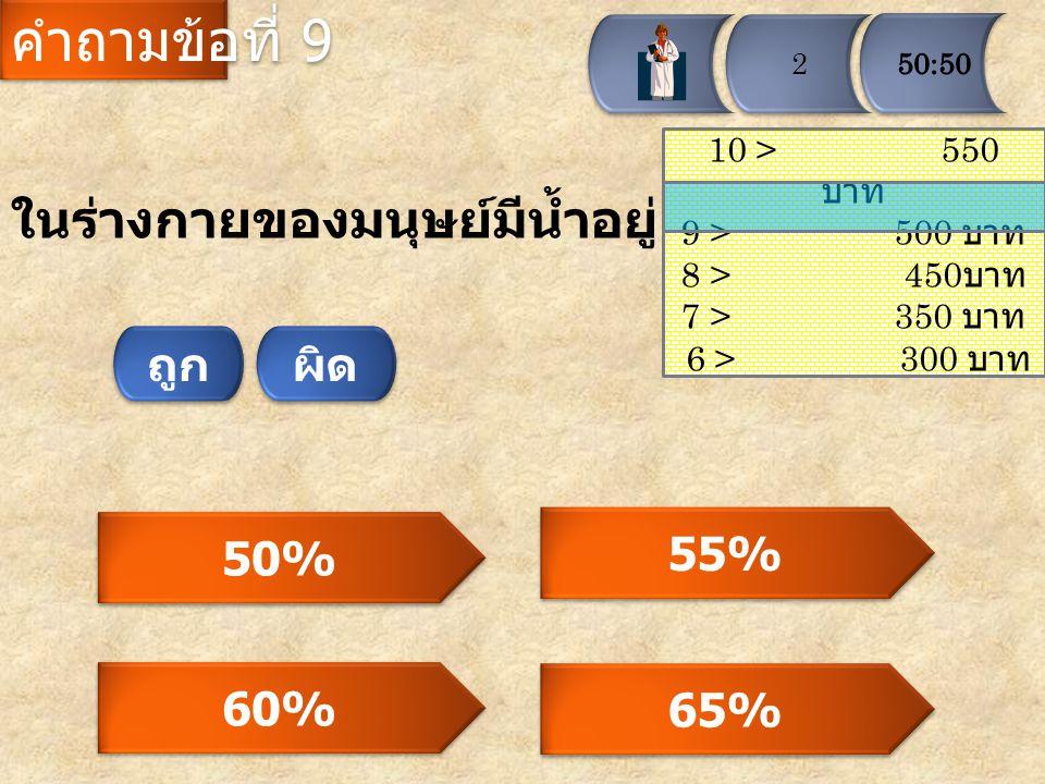 คำถามข้อที่ 9 ในร่างกายของมนุษย์มีน้ำอยู่เท่าใด ถูก ผิด 50% 55% 60%