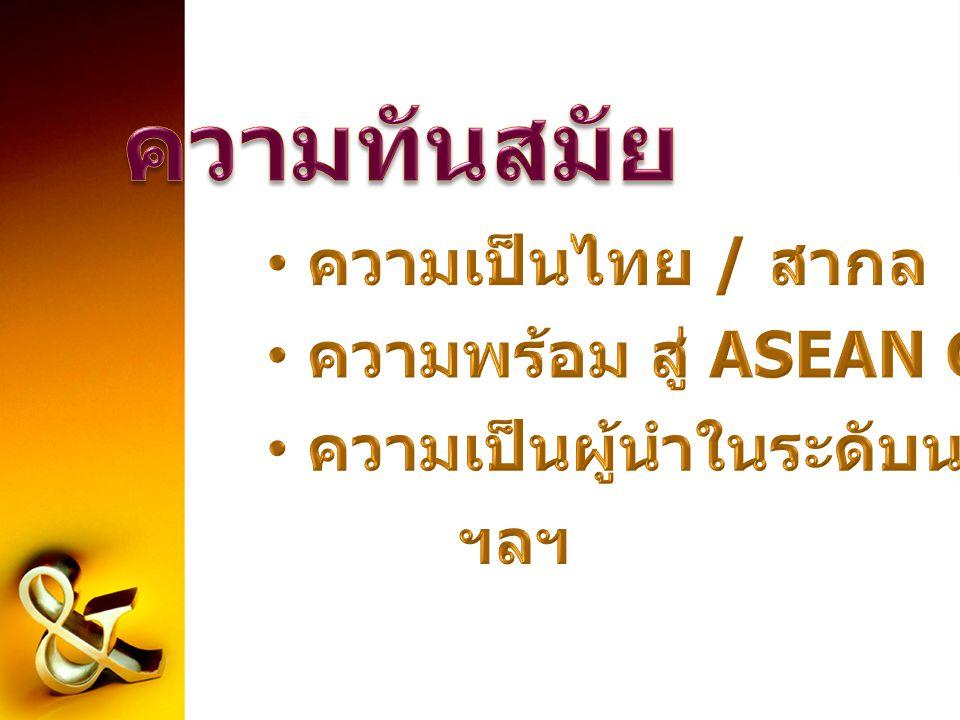 ความทันสมัย ความเป็นไทย / สากล ความพร้อม สู่ ASEAN Community