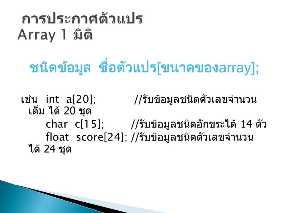 การประกาศตัวแปร Array 1 มิติ