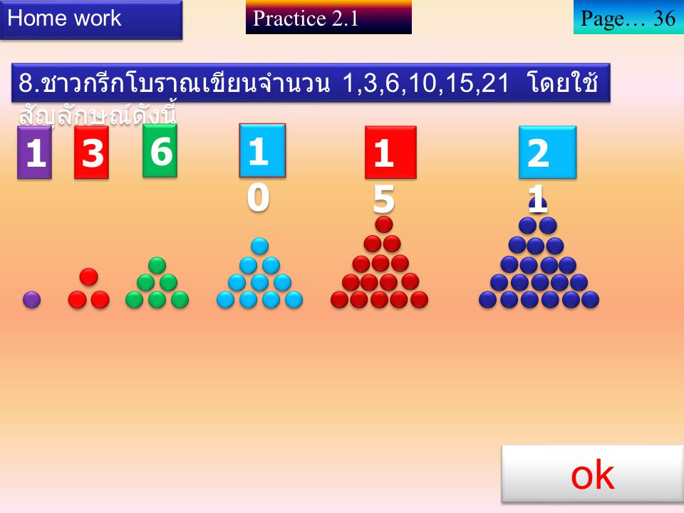 Home work Practice 2.1. Page… 36. 8.ชาวกรีกโบราณเขียนจำนวน 1,3,6,10,15,21 โดยใช้สัญลักษณ์ดังนี้ 1.
