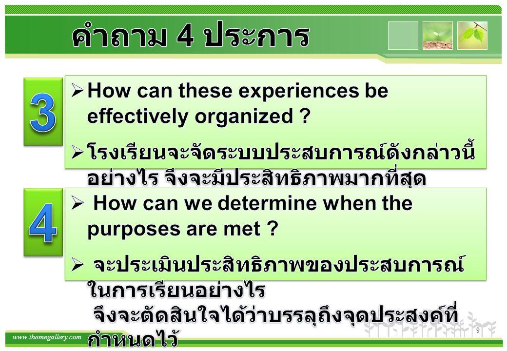 คำถาม 4 ประการ 3. How can these experiences be effectively organized โรงเรียนจะจัดระบบประสบการณ์ดังกล่าวนี้ อย่างไร จึงจะมีประสิทธิภาพมากที่สุด.