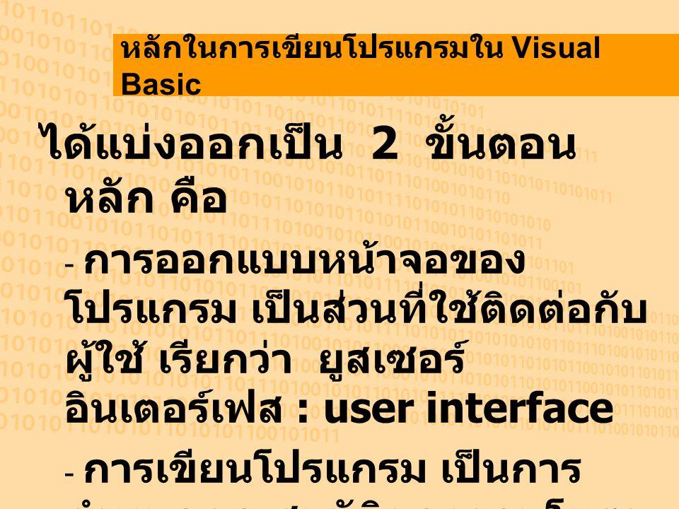 หลักในการเขียนโปรแกรมใน Visual Basic