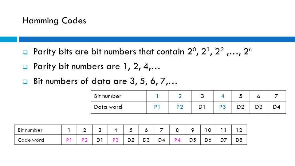 Parity bits are bit numbers that contain 20, 21, 22 ,…, 2n