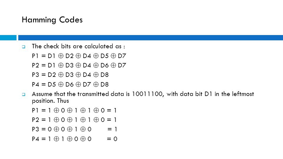 Hamming Codes The check bits are calculated as :