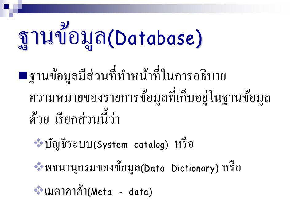 ฐานข้อมูล(Database) ฐานข้อมูลมีส่วนที่ทำหน้าที่ในการอธิบายความหมายของรายการข้อมูลที่เก็บอยู่ในฐานข้อมูลด้วย เรียกส่วนนี้ว่า.