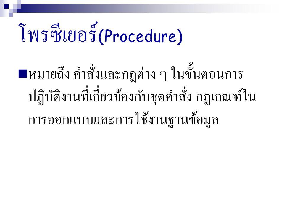 โพรซีเยอร์(Procedure)