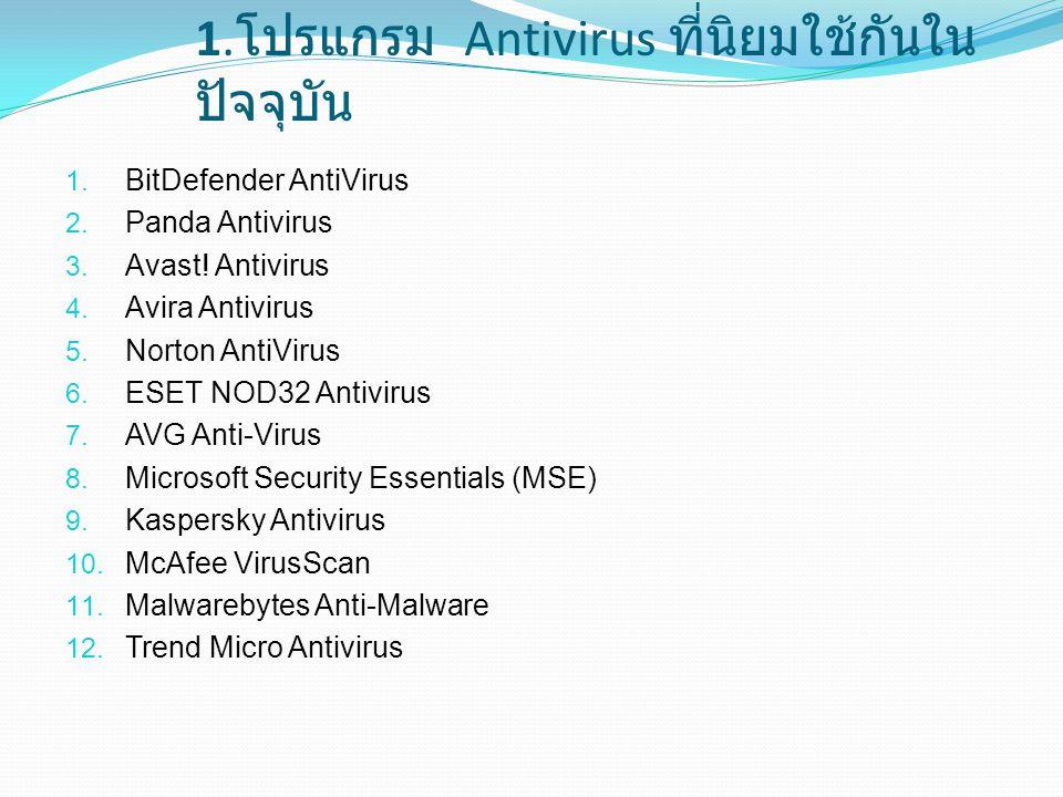 1.โปรแกรม Antivirus ที่นิยมใช้กันในปัจจุบัน