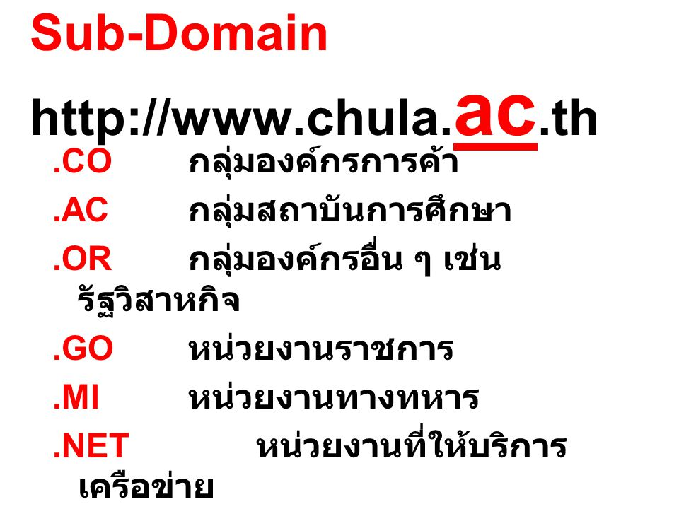 Sub-Domain http://www.chula.ac.th