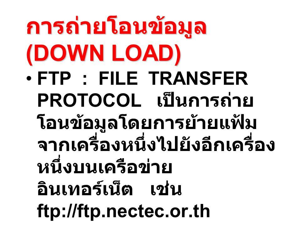 การถ่ายโอนข้อมูล (DOWN LOAD)