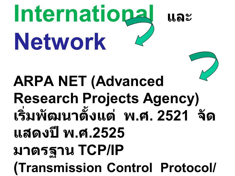 Internet มาจากคำว่า International และ Network ARPA NET (Advanced Research Projects Agency) เริ่มพัฒนาตั้งแต่ พ.ศ.