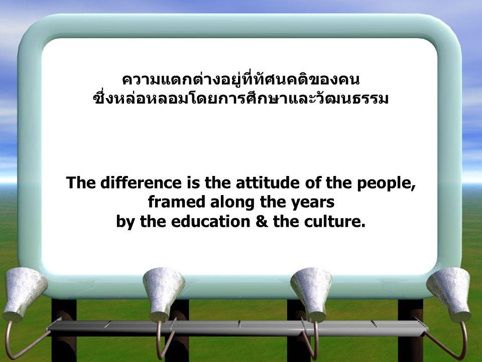 ความแตกต่างอยู่ที่ทัศนคติของคน ซึ่งหล่อหลอมโดยการศึกษาและวัฒนธรรม