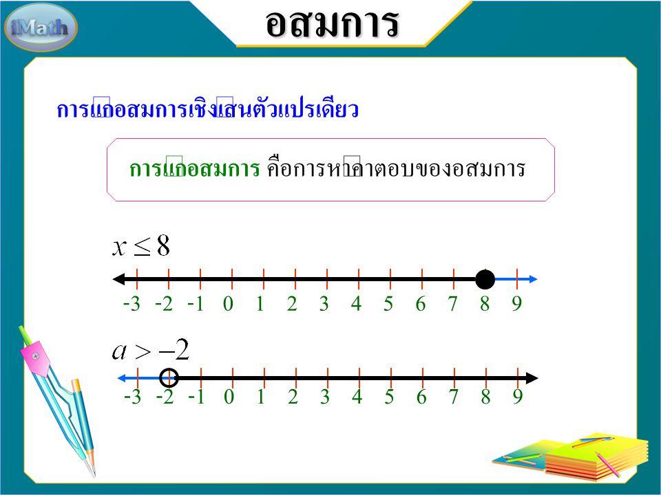 อสมการ การแก้อสมการเชิงเส้นตัวแปรเดียว