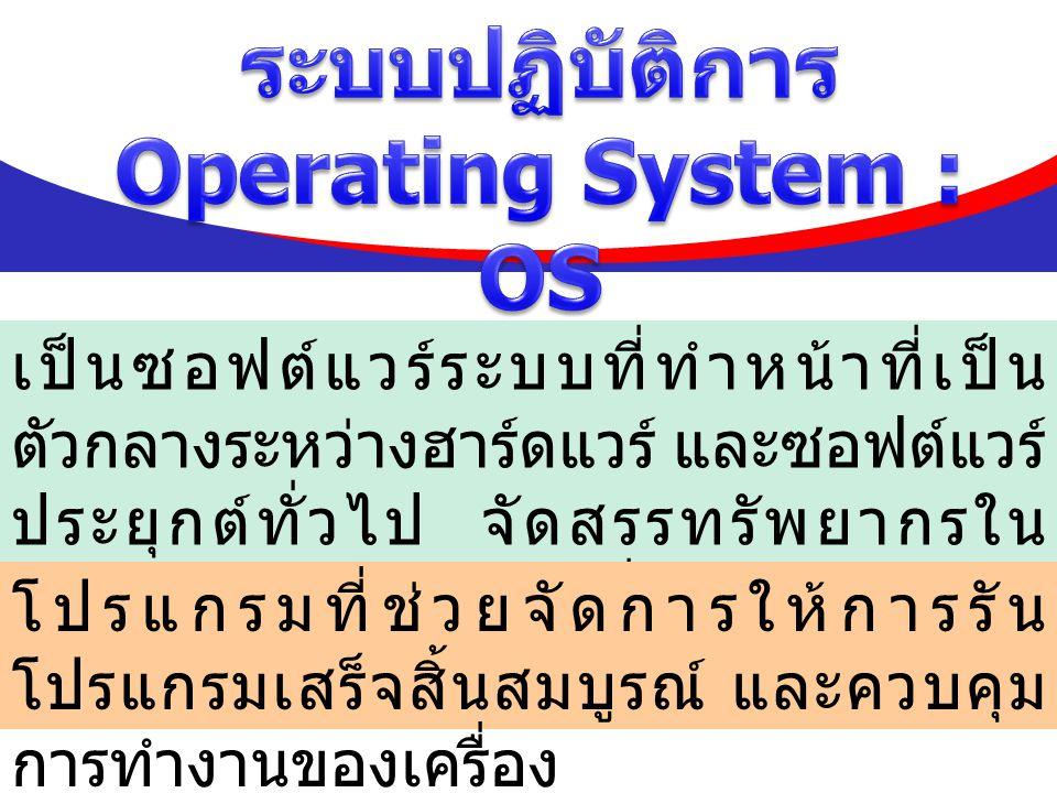 ความหมายของระบบปฏิบัติการ Operating System : OS