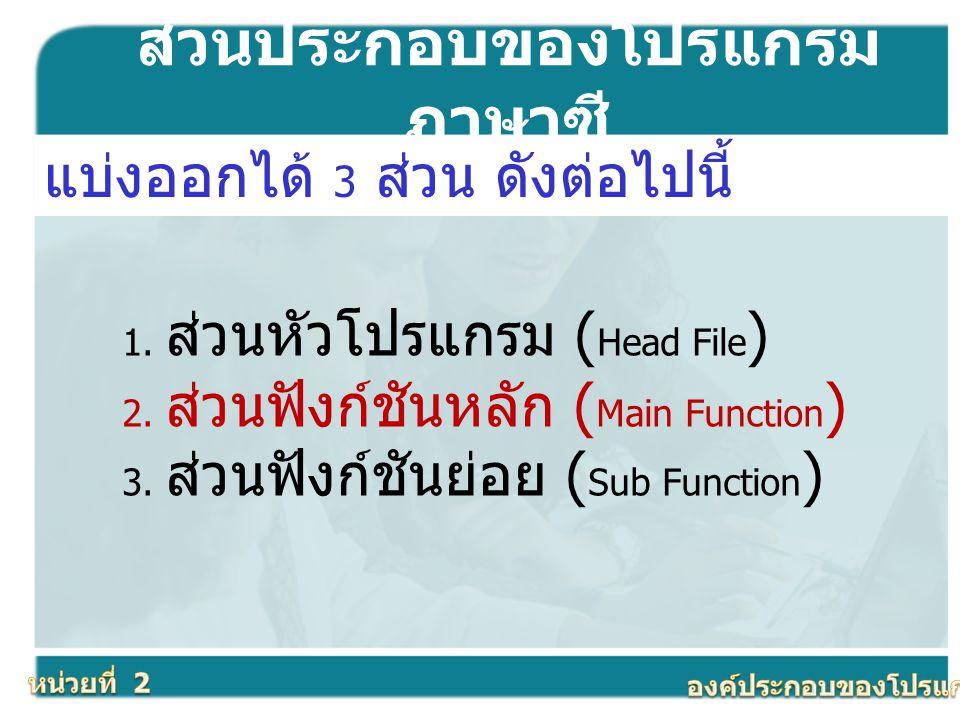 ส่วนประกอบของโปรแกรมภาษาซี