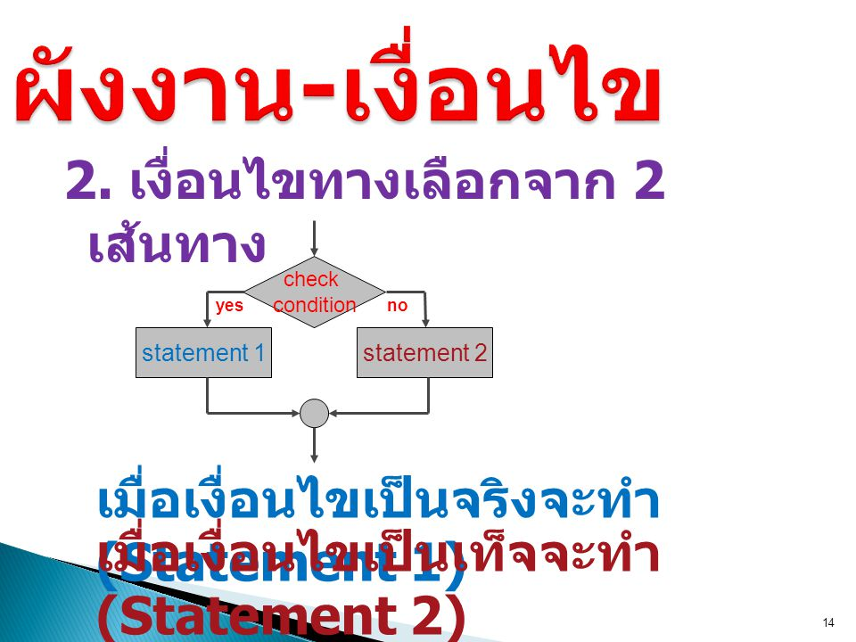 ผังงาน-เงื่อนไข 2. เงื่อนไขทางเลือกจาก 2 เส้นทาง