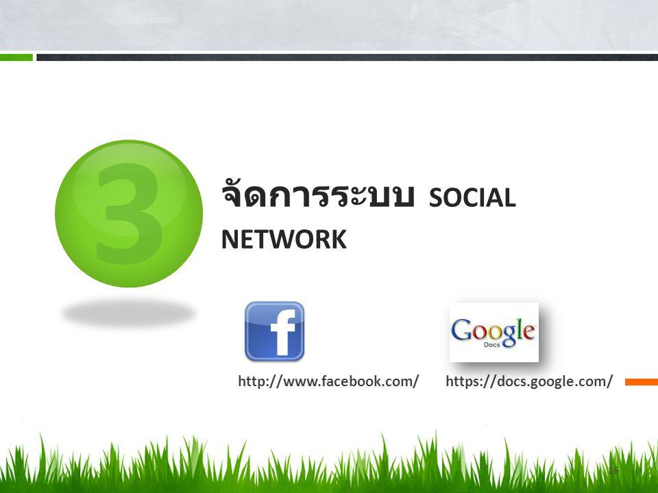 จัดการระบบ Social network