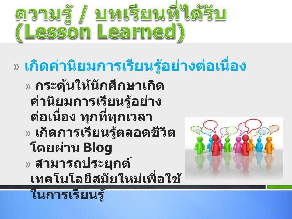 ความรู้ / บทเรียนที่ได้รับ (Lesson Learned)