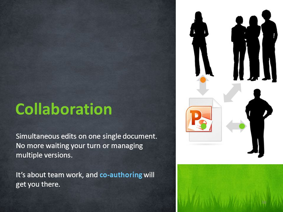 Collaboration Simultaneous edits on one single document. No more waiting your turn or managing multiple versions.