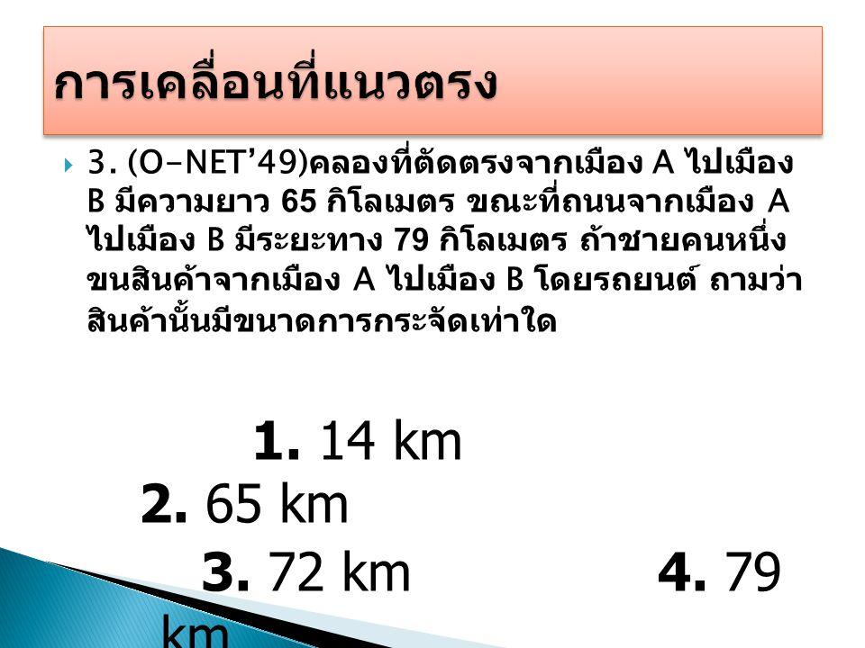 1. 14 km 2. 65 km 3. 72 km 4. 79 km การเคลื่อนที่แนวตรง