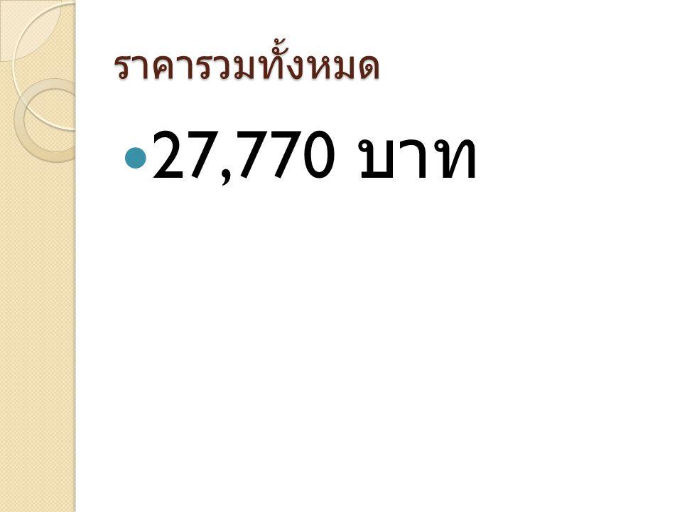 ราคารวมทั้งหมด 27,770 บาท