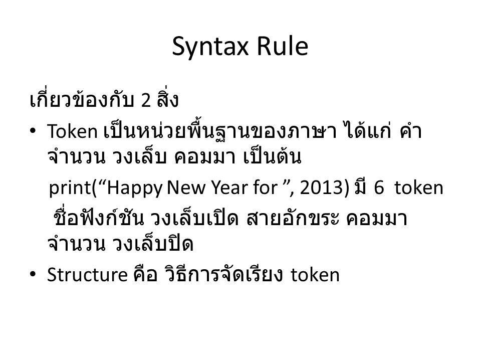 Syntax Rule เกี่ยวข้องกับ 2 สิ่ง
