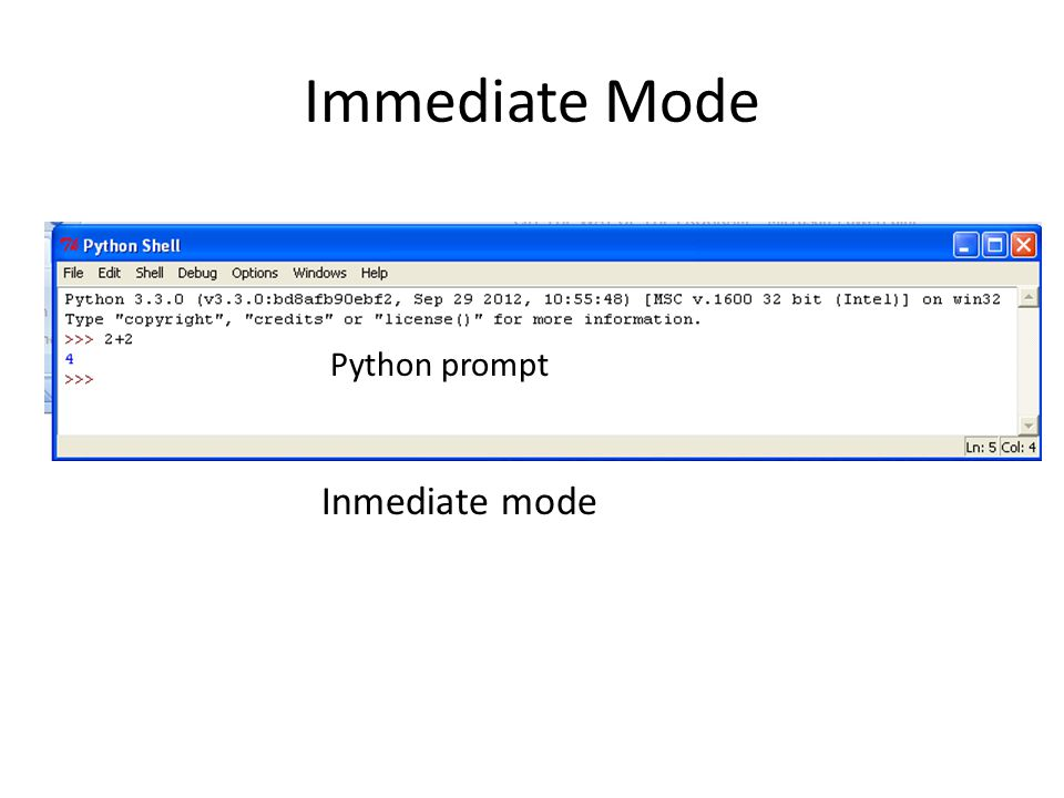 Immediate Mode Python prompt Inmediate mode