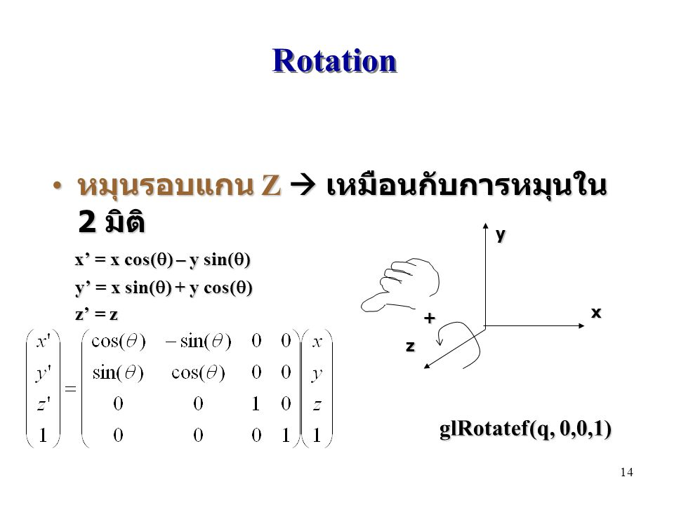 Rotation หมุนรอบแกน Z  เหมือนกับการหมุนใน 2 มิติ