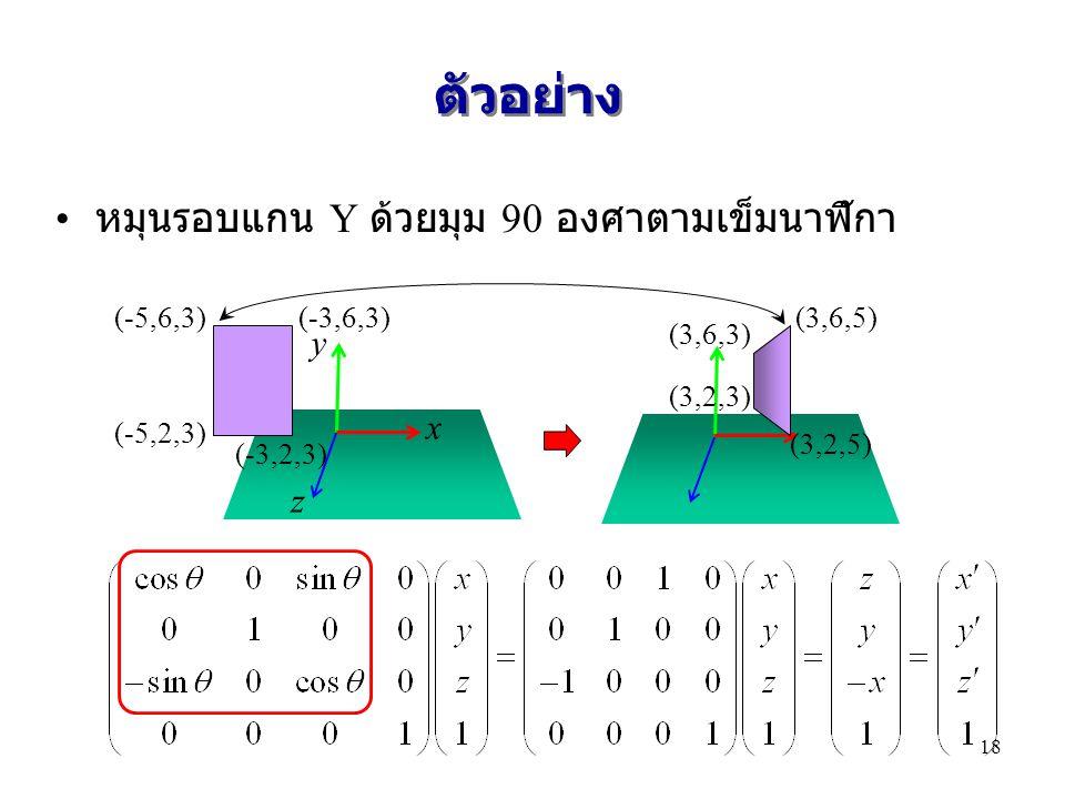 ตัวอย่าง หมุนรอบแกน Y ด้วยมุม 90 องศาตามเข็มนาฬิกา y x z (-5,6,3)