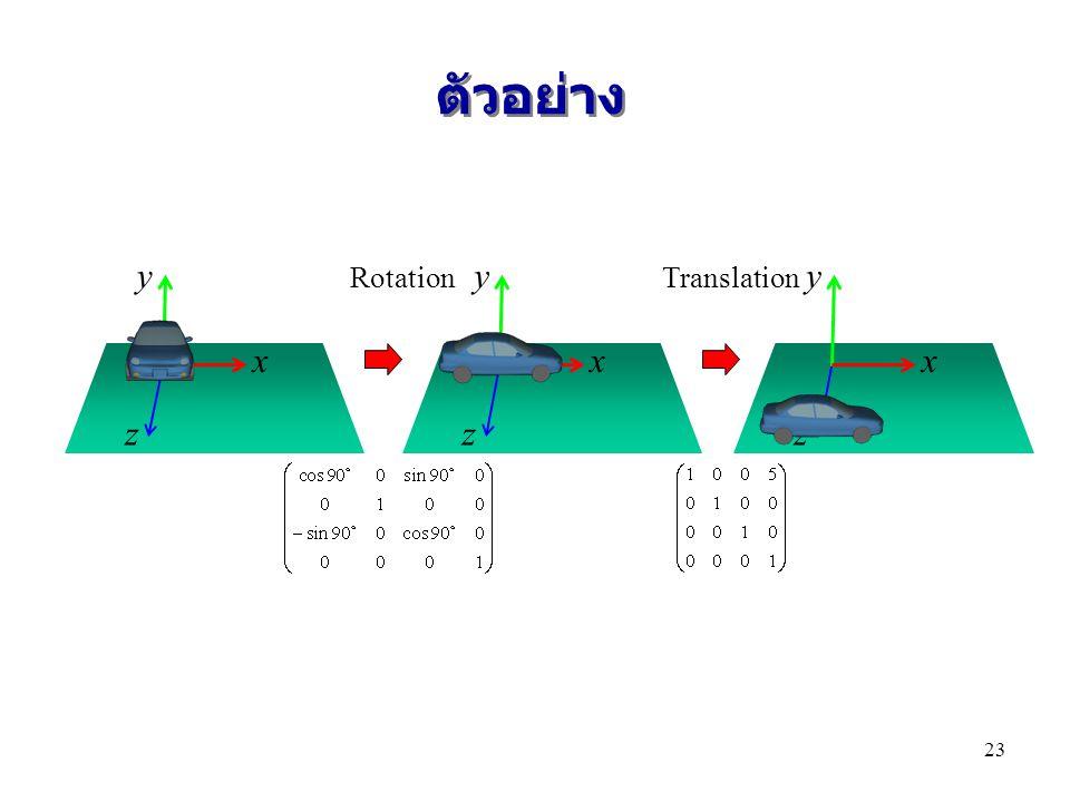 ตัวอย่าง y Rotation y Translation y x x x z z z