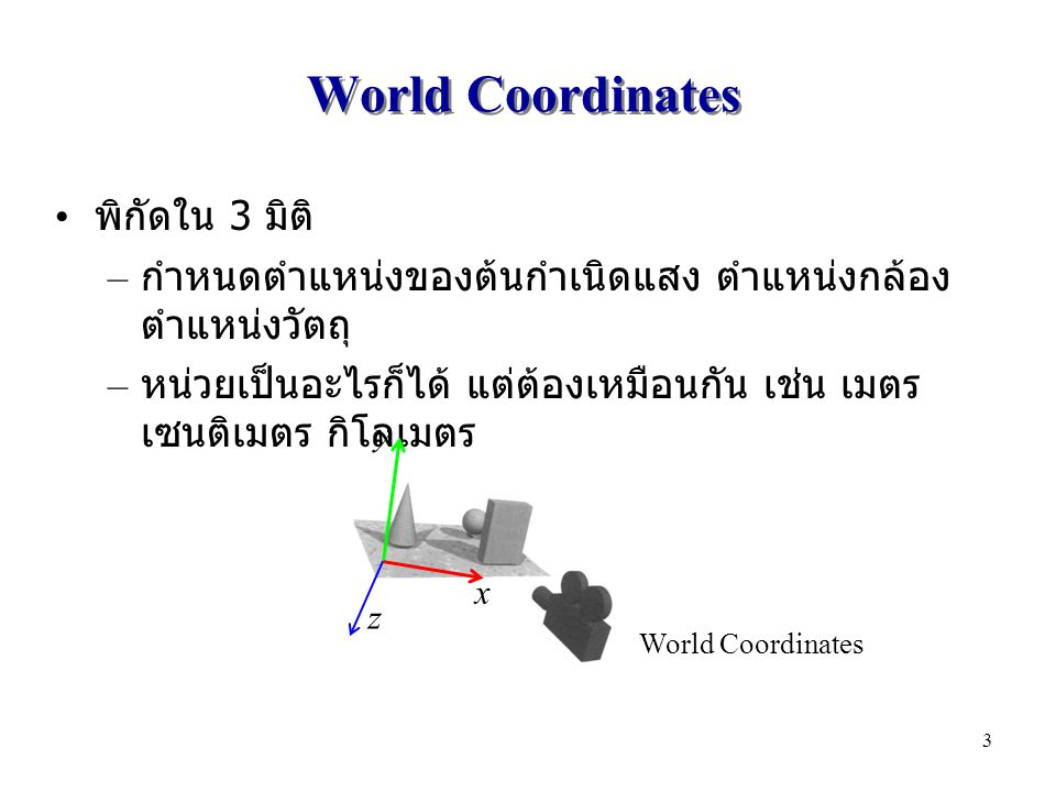 World Coordinates พิกัดใน 3 มิติ