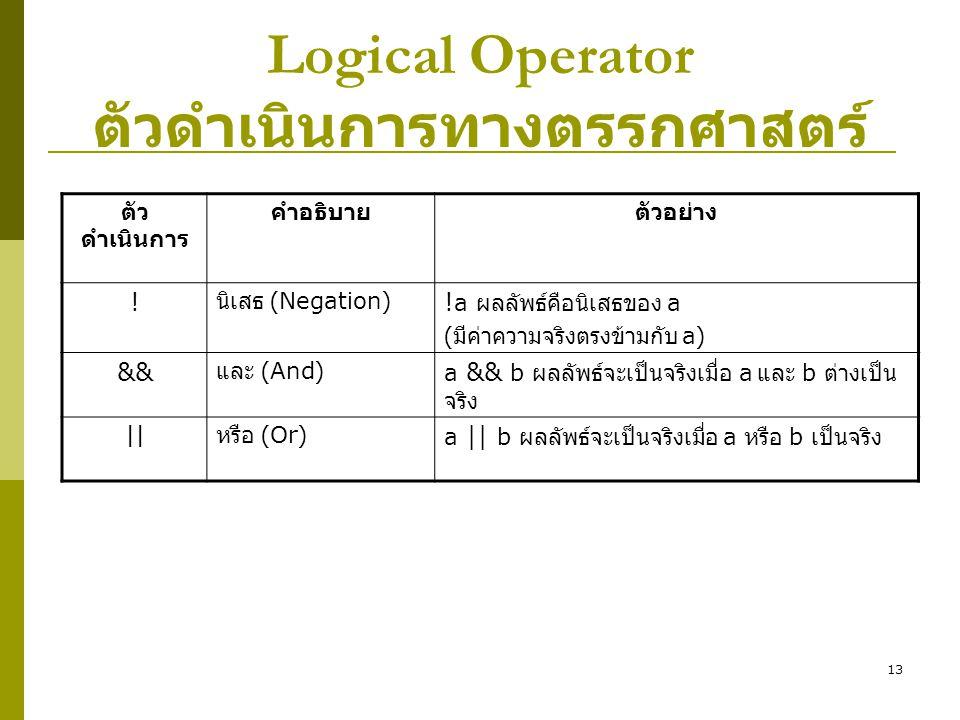 Logical Operator ตัวดำเนินการทางตรรกศาสตร์