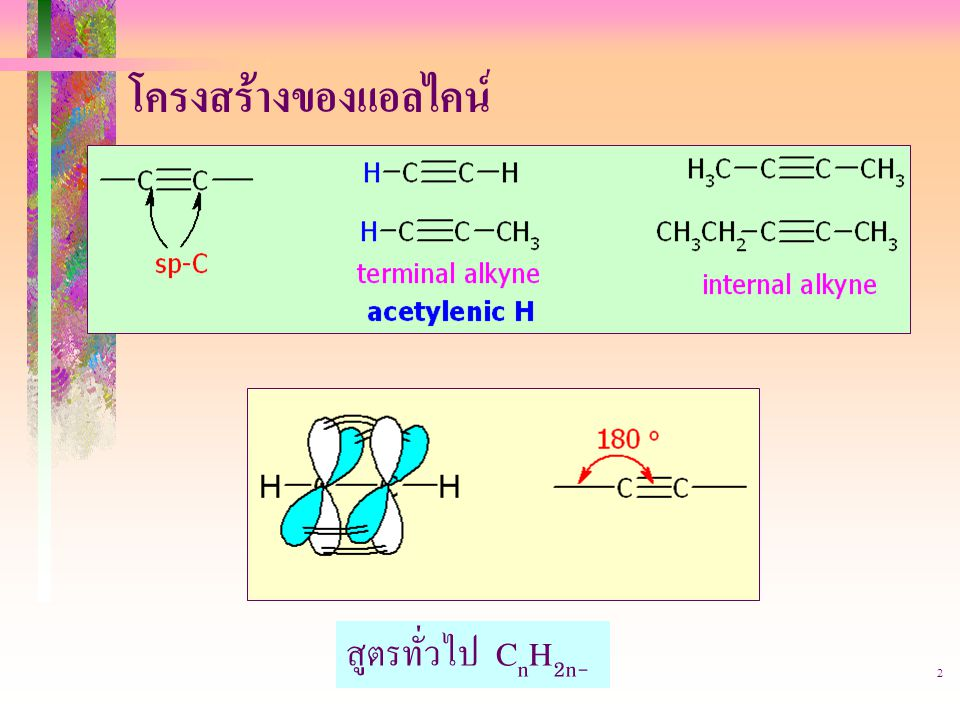 โครงสร้างของแอลไคน์ สูตรทั่วไป CnH2n-2 403221-alkyne