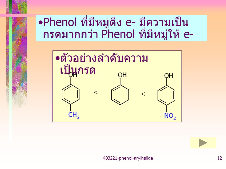 Phenol ที่มีหมู่ดึง e- มีความเป็นกรดมากกว่า Phenol ที่มีหมู่ให้ e-