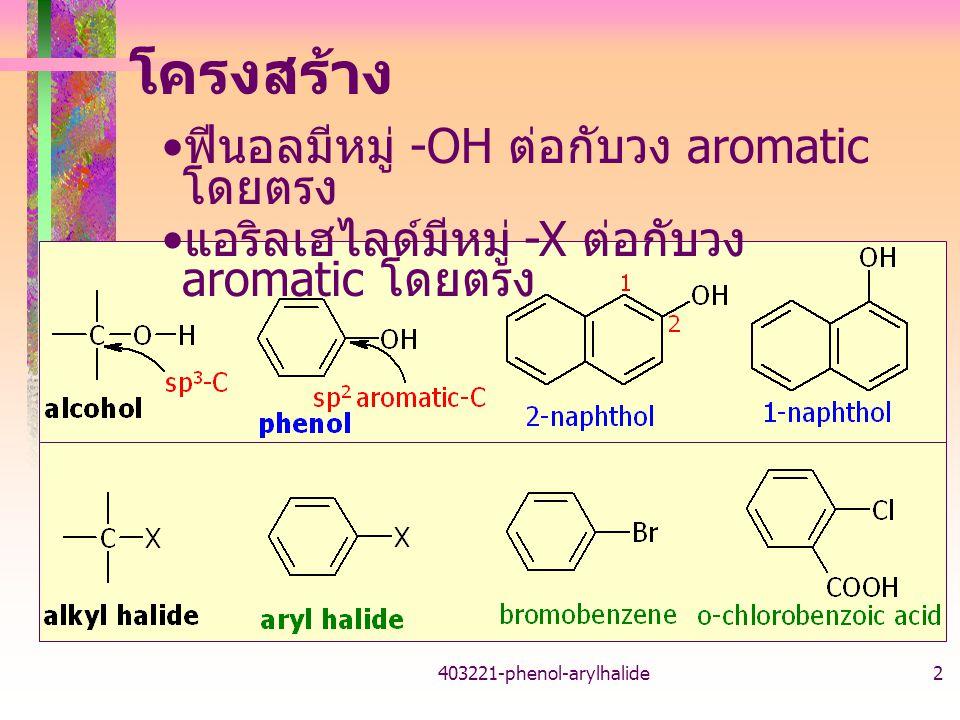 โครงสร้าง ฟีนอลมีหมู่ -OH ต่อกับวง aromatic โดยตรง