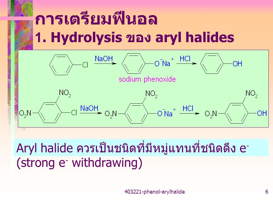 การเตรียมฟีนอล 1. Hydrolysis ของ aryl halides