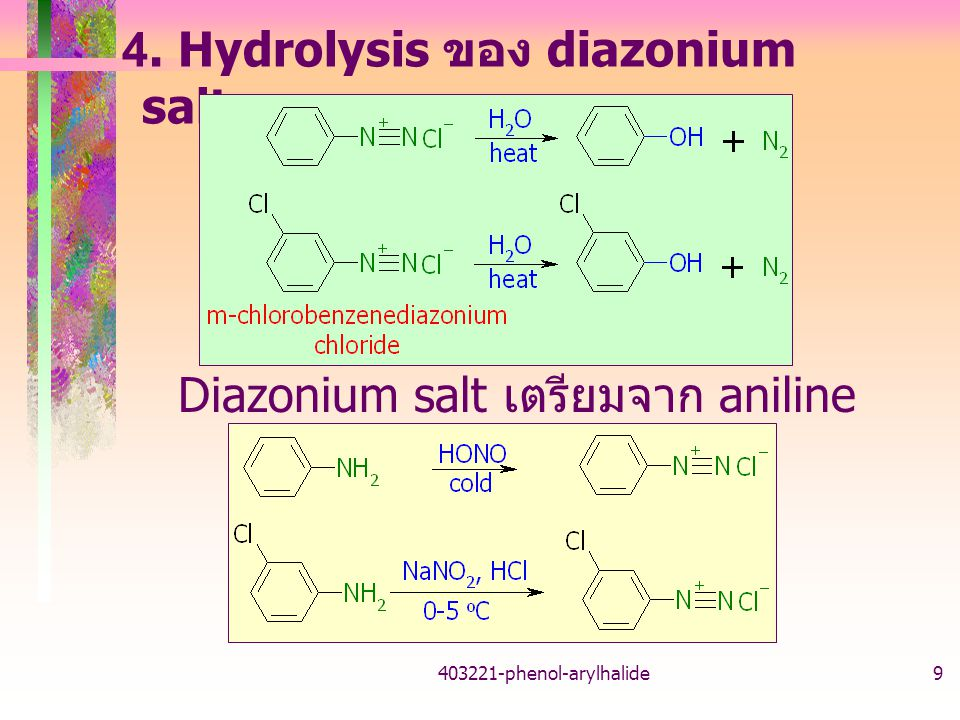 4. Hydrolysis ของ diazonium salts