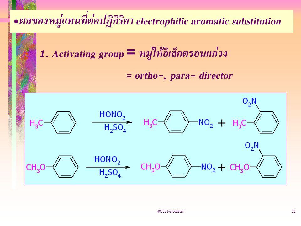 ผลของหมู่แทนที่ต่อปฏิกิริยา electrophilic aromatic substitution