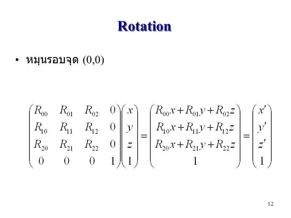 Rotation หมุนรอบจุด (0,0)