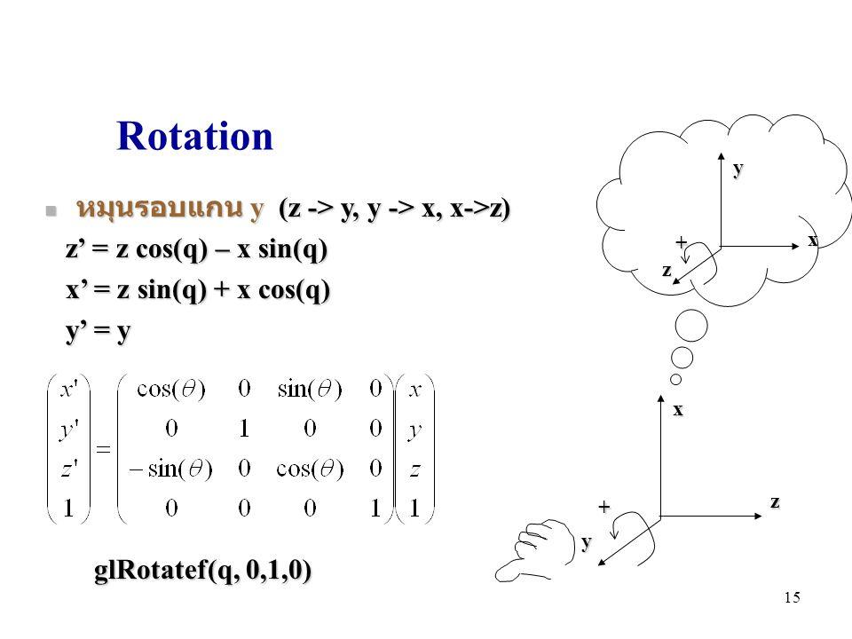 Rotation หมุนรอบแกน y (z -> y, y -> x, x->z)
