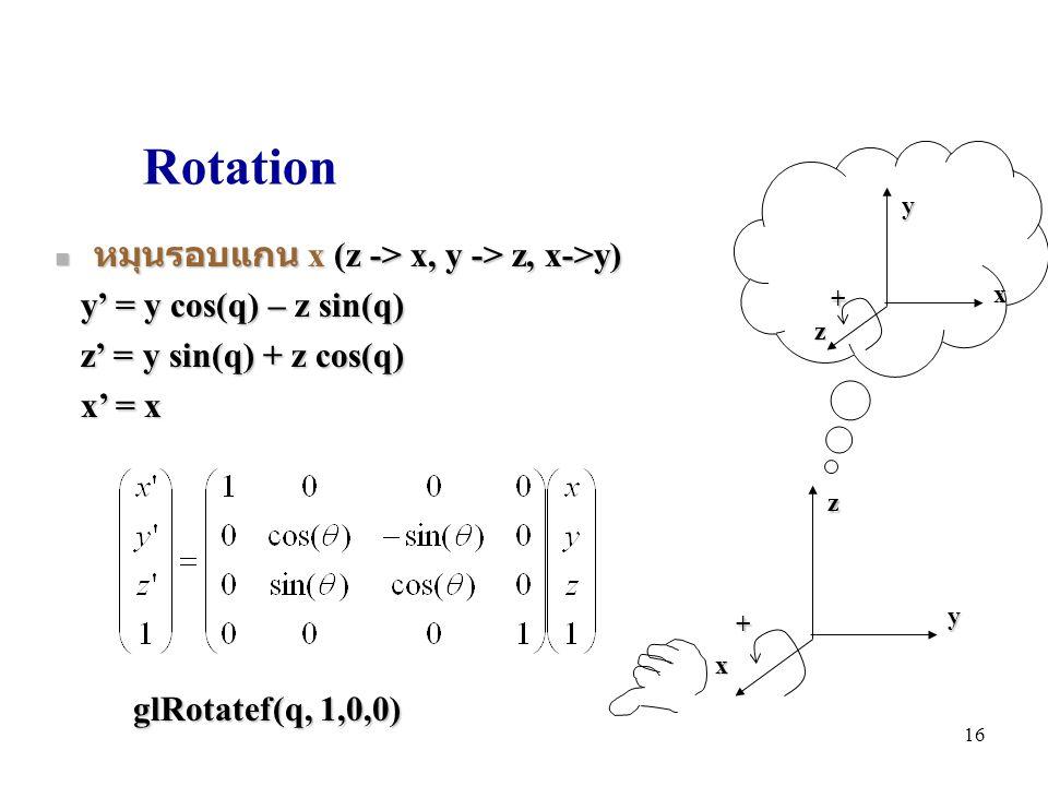 Rotation หมุนรอบแกน x (z -> x, y -> z, x->y)