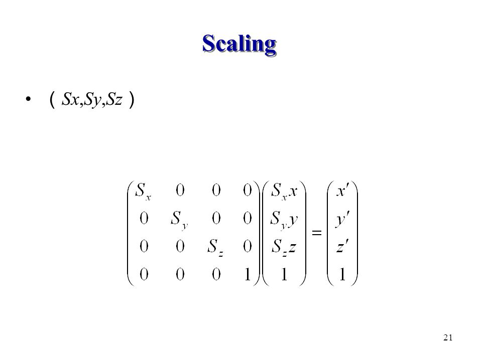 Scaling (Sx,Sy,Sz)